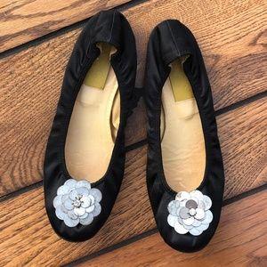 Lanvin Black Ballet Shoes w Metal Flowers, 4U or 6